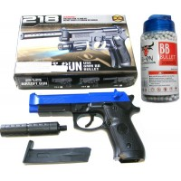 BB Sports 218 Spring Powered Blue Plastic BB Gun Pistol With Silencer & 2000 Pellets