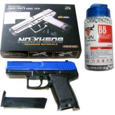 XK508 Spring Powered Blue Plastic BB Gun Pistol & 2000 Pellets