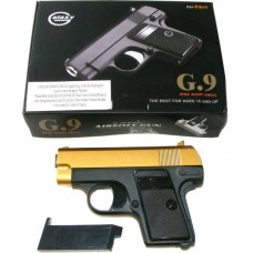 Galaxy G9 Spring Powered Gold & Black Metal BB Gun Pistol 220 FPS