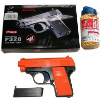 Double Eagle P328 Spring Powered Orange Plastic BB Gun Pistol & 2000 BB Pellets