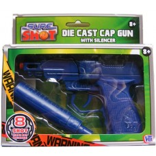 Sure Shot Blue Die Cast Metal 8 Shot Cap Gun with Plastic Silencer