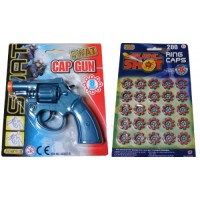 Blue Plastic 8 Shot Cap Gun Pistol & 160 Caps