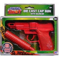 Sure Shot Red Die Cast Metal 8 Shot Cap Gun with Plastic Silencer